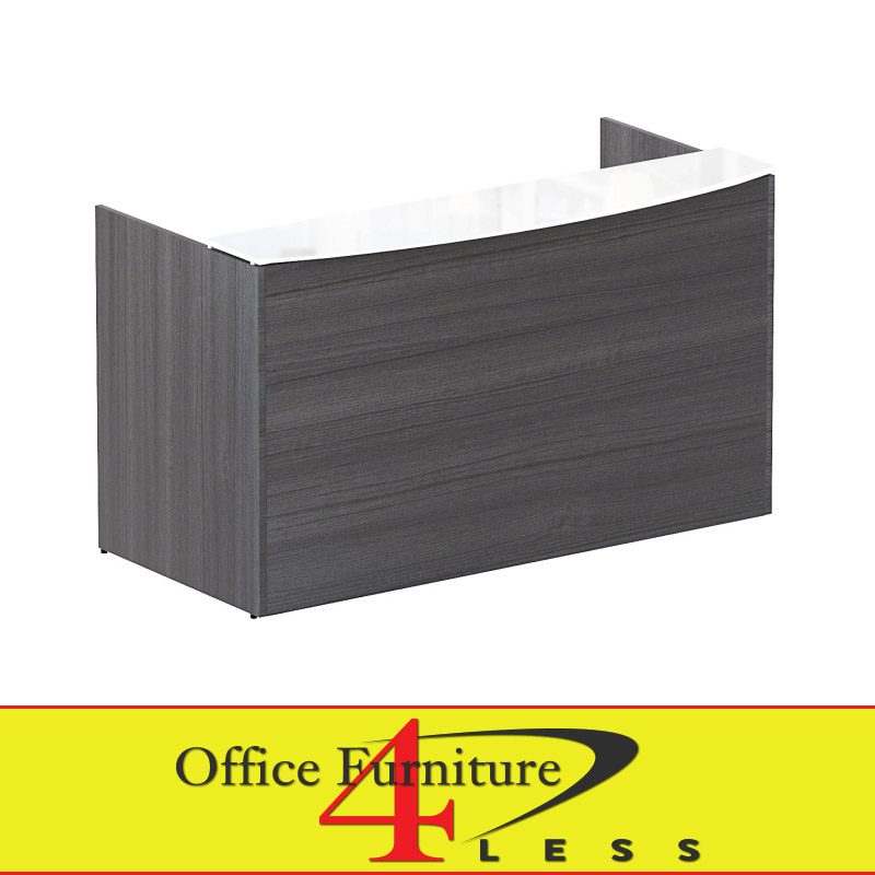 C P7236rd Gt W G Reception Desk With White Glass