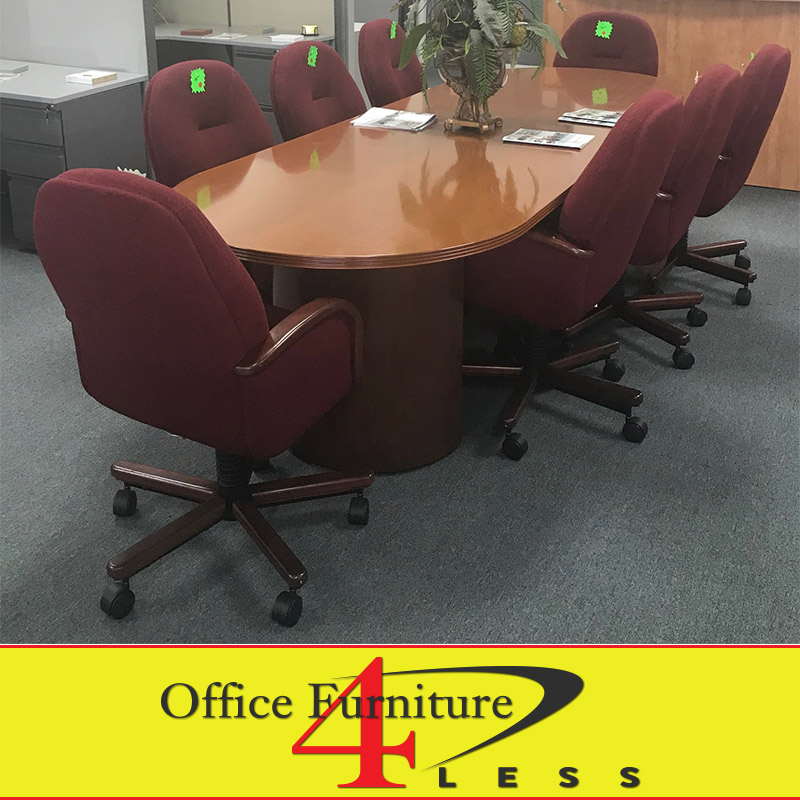 Used 10 ft wood conference table office furniture 4 for Furniture 4 less